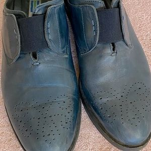 Arnold Churgin Blue Leather Slip On Oxford Loafers
